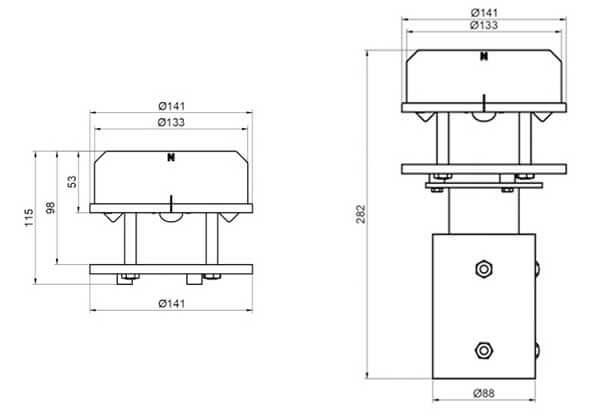 Ultrasonic wind sensor size drawing