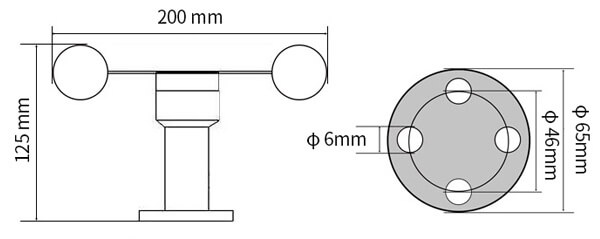 aluminum wind speed sensor size
