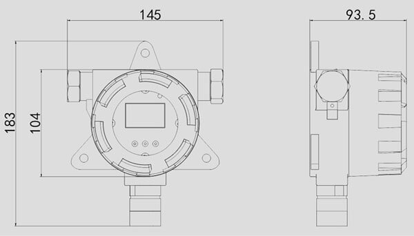 fixed gas detector size