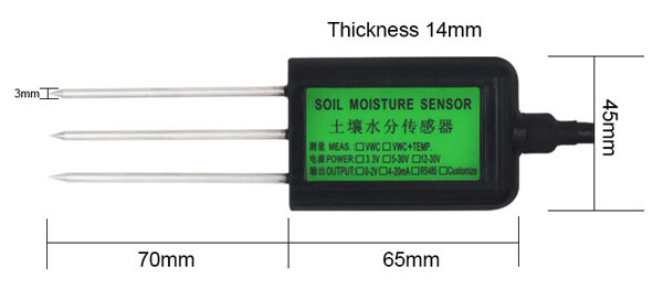 soil moisture sensor size