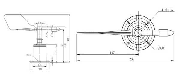 wind direction sensor size
