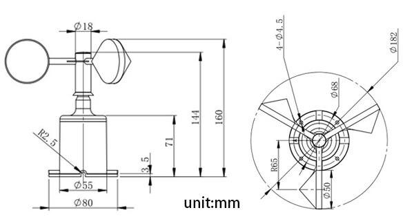 wind speed sensor size